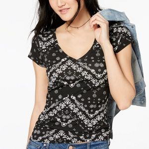 Planet Gold Printed V-Neck Top size XS